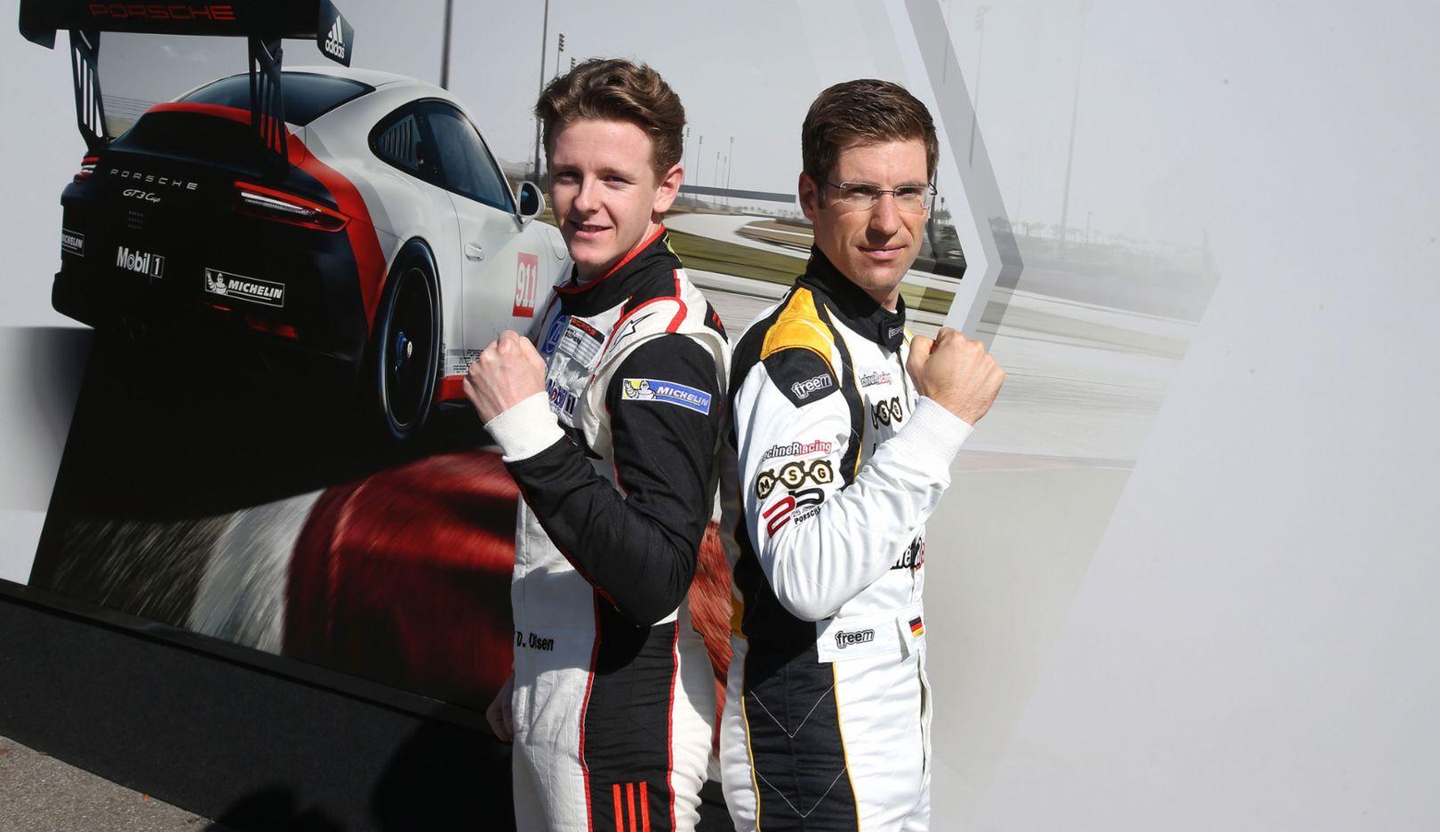 Dennis Olsen, Michael Ammermüller, l-r, Porsche Mobil 1 Supercup, 2017, Porsche AG