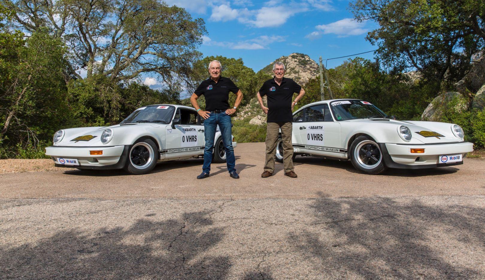 Gérard Larrousse, Vic Elford, l-r, 911 SC/RS, Tour de Corse, 2017, Porsche AG