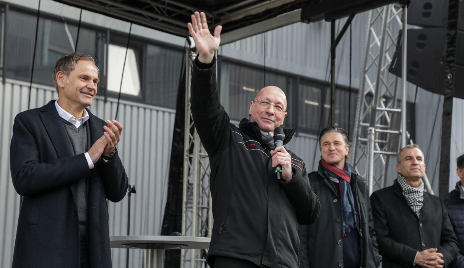 Oliver Blume, Uwe Hück, Lutz Meschke, Albrecht Reimold, l-r, Stuttgart-Zuffenhausen, 2019, Porsche AG