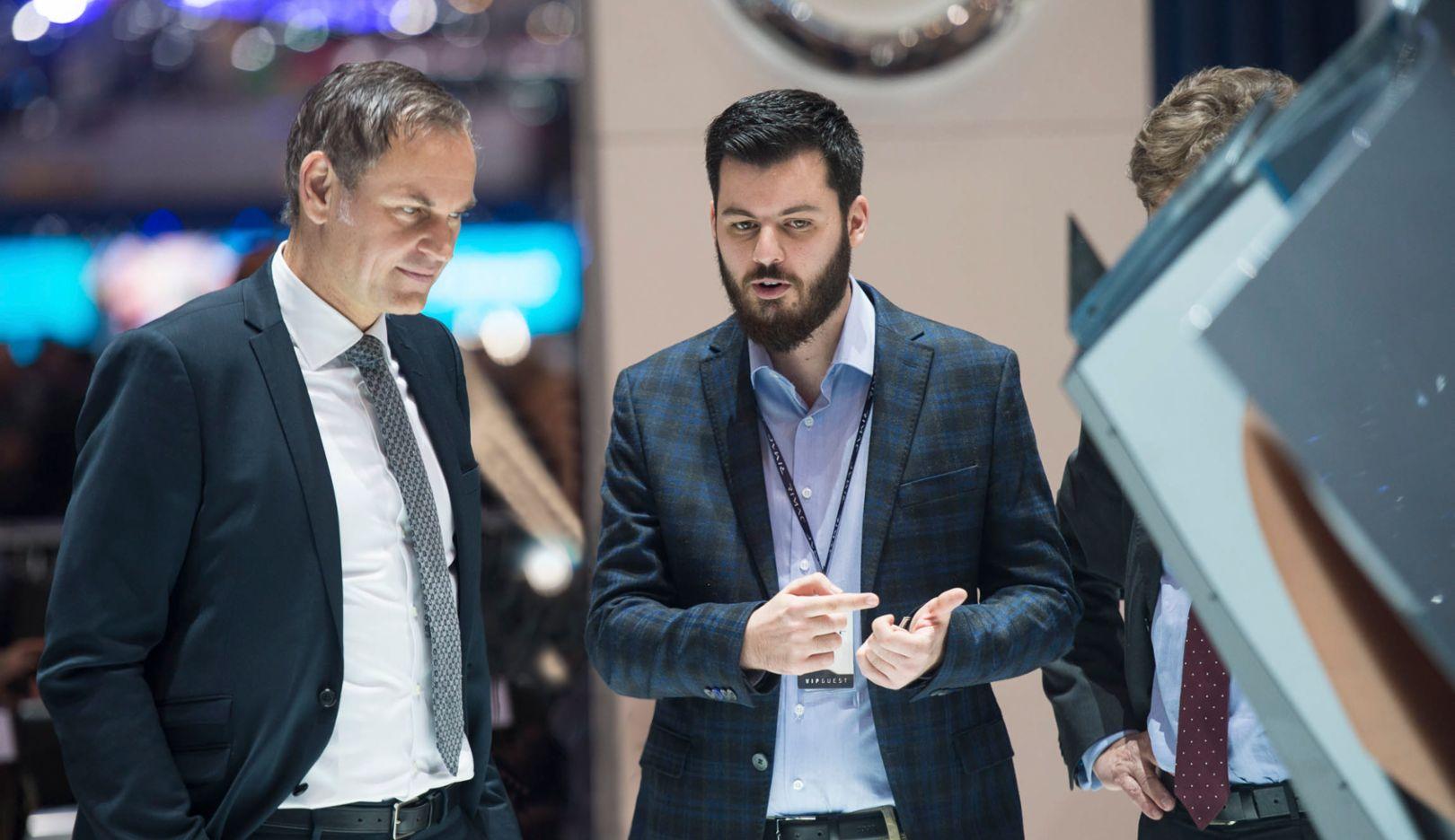 Oliver Blume, CEO of Porsche AG, Mate Rimac, CEO of Rimac Automobili, l-r, 2018, Porsche AG