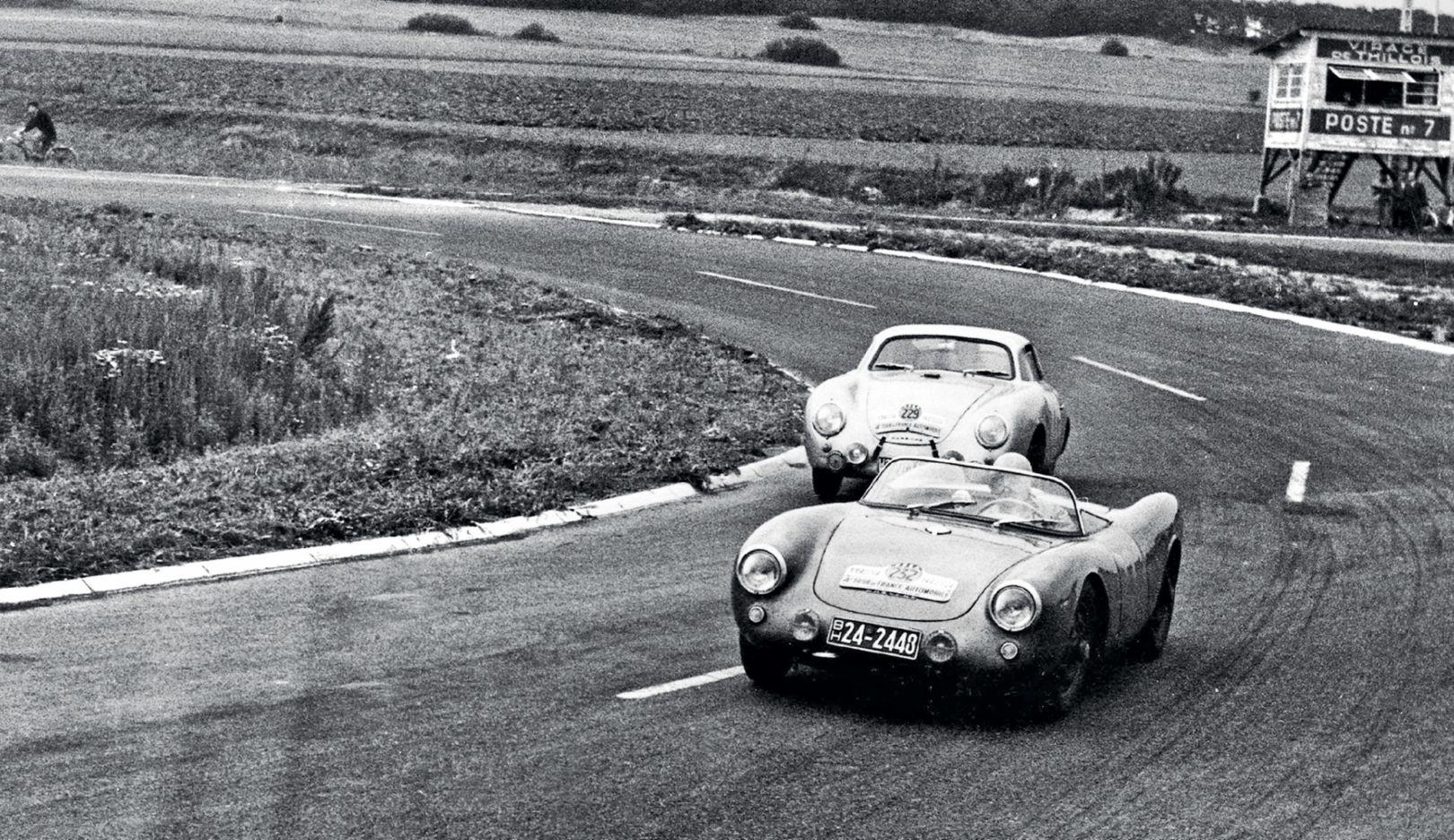 安妮·布斯科特和吉尔伯特·蒂里翁(Gilberte Thirion), 550 Spyder,汽车环法大赛, 1954, 保时捷