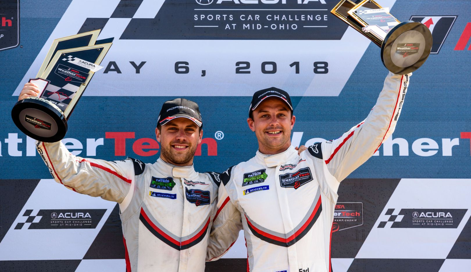 Laurens Vanthoor and Earl Bamber (l-r), IMSA WeatherTech SportsCar Championship, Mid-Ohio, 2018, Porsche AG