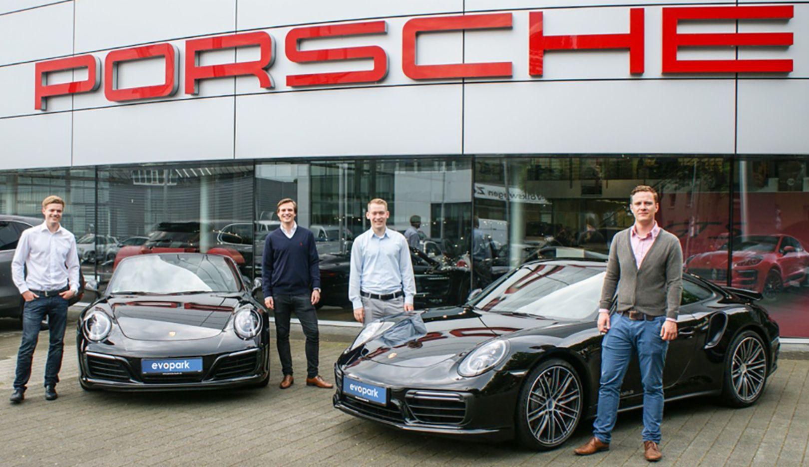 Maximilian Messing, Marik Hermann, Tobias Weiper, Sven Lackinger, l-r, Gründer Evopark, 2016, Porsche AG
