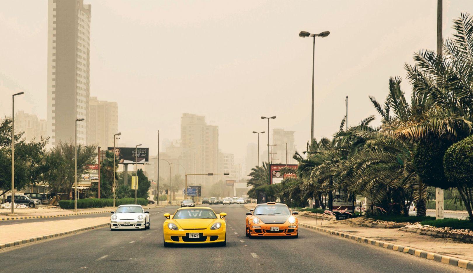 911 GT3, Carrera GT, 911 GT3 RS, l-r, Kuwait, 2018, Porsche AG