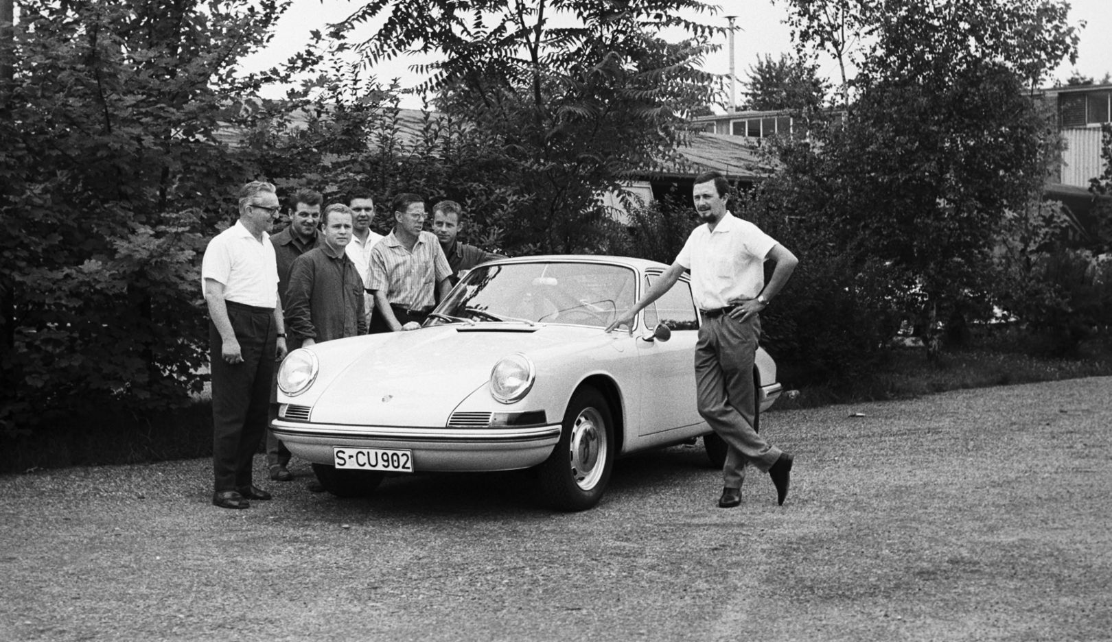 Heinrich Klie, Ernst Bolt, Hans Ploch, Hans Springmann, Ferdinand Alexander Porsche, l-r, Porsche 901, 1964, 2017, Porsche AG