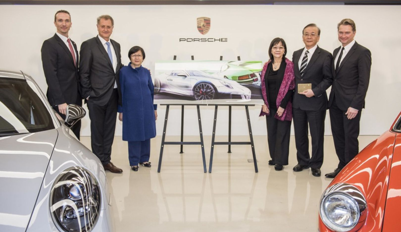 Martin Limpert, the new CEO of Porsche Taiwan; Detlev von Platen, Member of the Executive Board, Sales and Marketing, Porsche AG; Jane Tang, Chairman of Universal Motor Traders; Julie Tang, Chairman of Pan German Universal Motors Lts. Co., James Tang, Chairman of Universal Pan German Organization; Matthias Becker, Vice President Overseas and Emerging Markets; l-r, Porsche AG, 2017