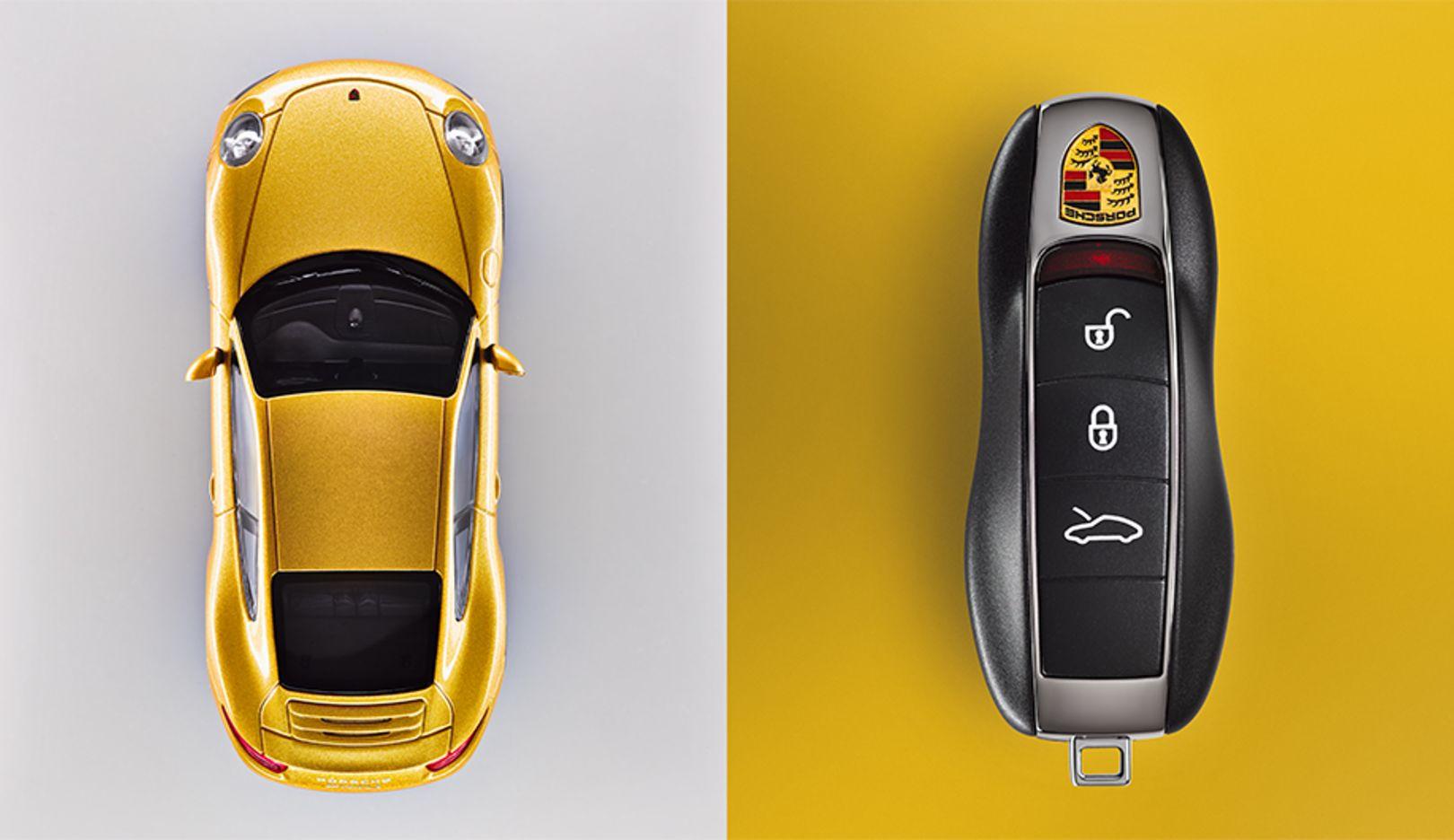 991: Der aktuelle Schlüssel besitzt eine integrierte Funktionalität für Porsche Entry & Drive, ein baureihenspezifisches Tastenfeld und die neueste Verschlüsselungstechnologie
