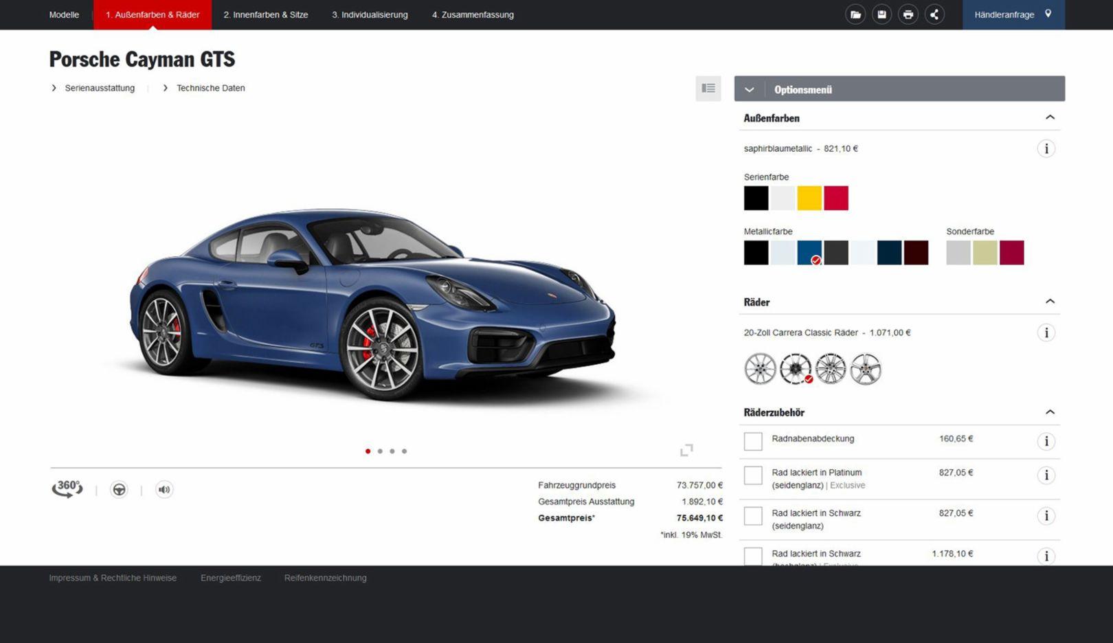 Porsche Car Configurator, 2015, Porsche AG