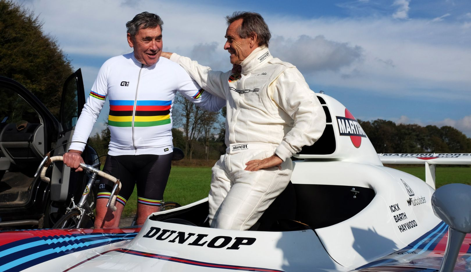 Eddy Merckx, former professional racing cyclist , Jacky Ickx, former Porsche race driver, 2015, Porsche AG