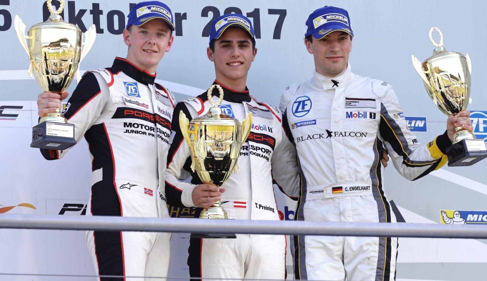 Dennis Olsen, Thomas Preining, Christian Engelhart, l-r, Porsche Carrera Cup Deutschland, Hockenheimring, 2017, Porsche AG