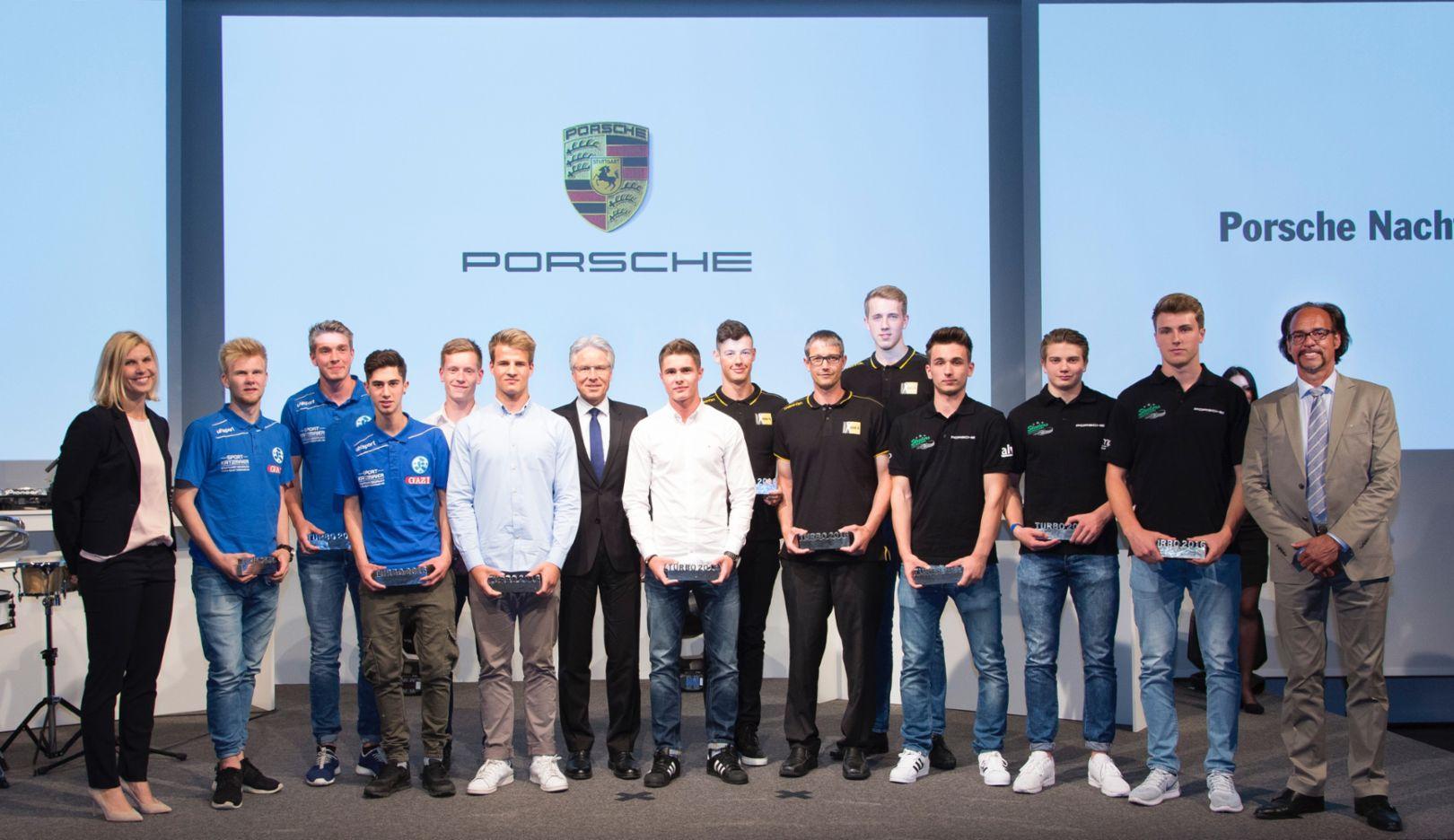 Alle Preisträger mit den Laudatoren, Porsche Nacht der Talente, Zuffenhausen, 2016, Porsche AG