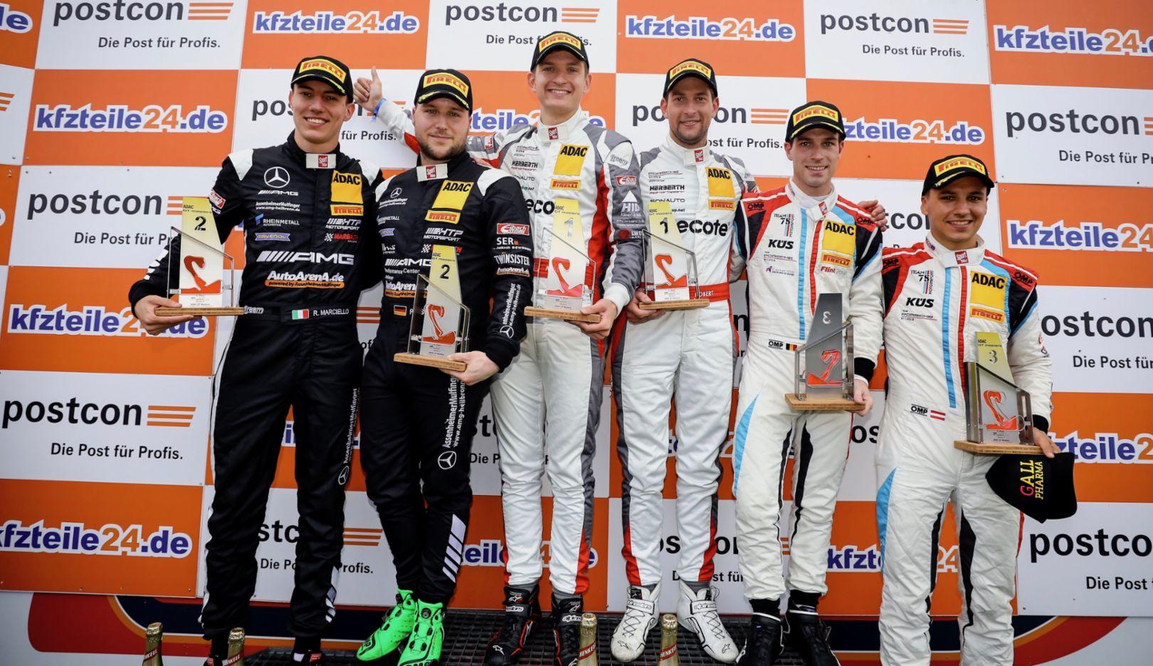 Raffaele Marciello, Patrick Assenheimer, Mathieu Jaminet, Robert Renauer, Precote Herberth Motorsport, Adrien de Leener, Klaus Bachler, KÜS Team75 Bernhard, l-r, ADAC GT Masters, 10. Lauf, Zandvoort, 2018, Porsche AG