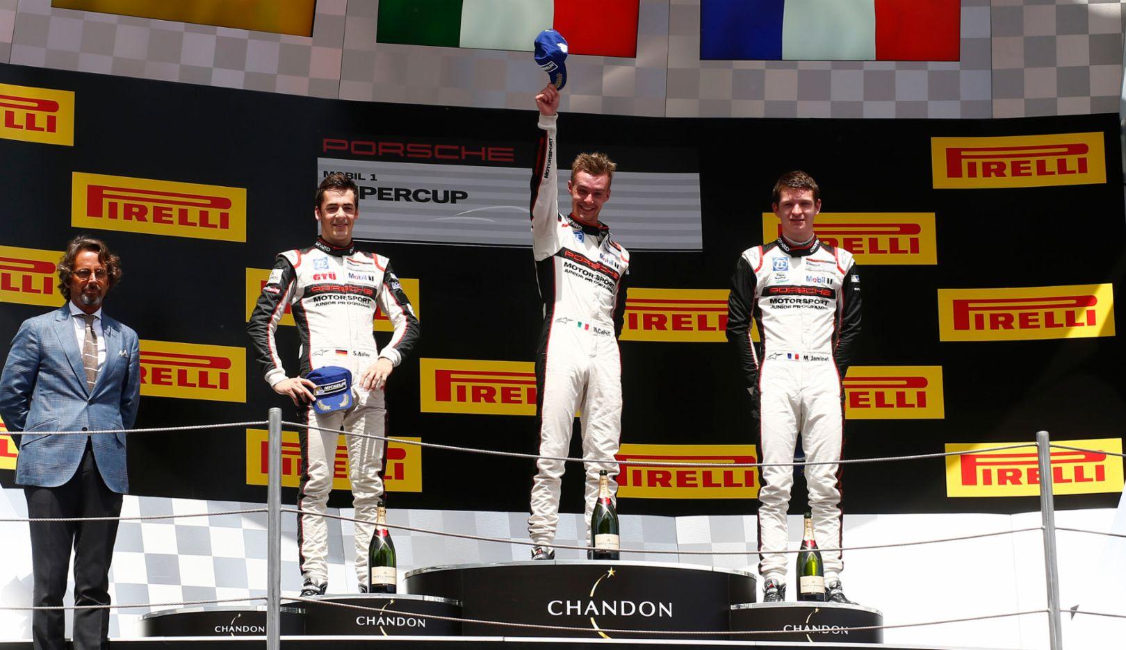 Sven Müller, Matteo Cairoli, Mathieu Jaminet, l-r, Porsche Mobil 1 Supercup, Barcelona, 2016, Porsche AG