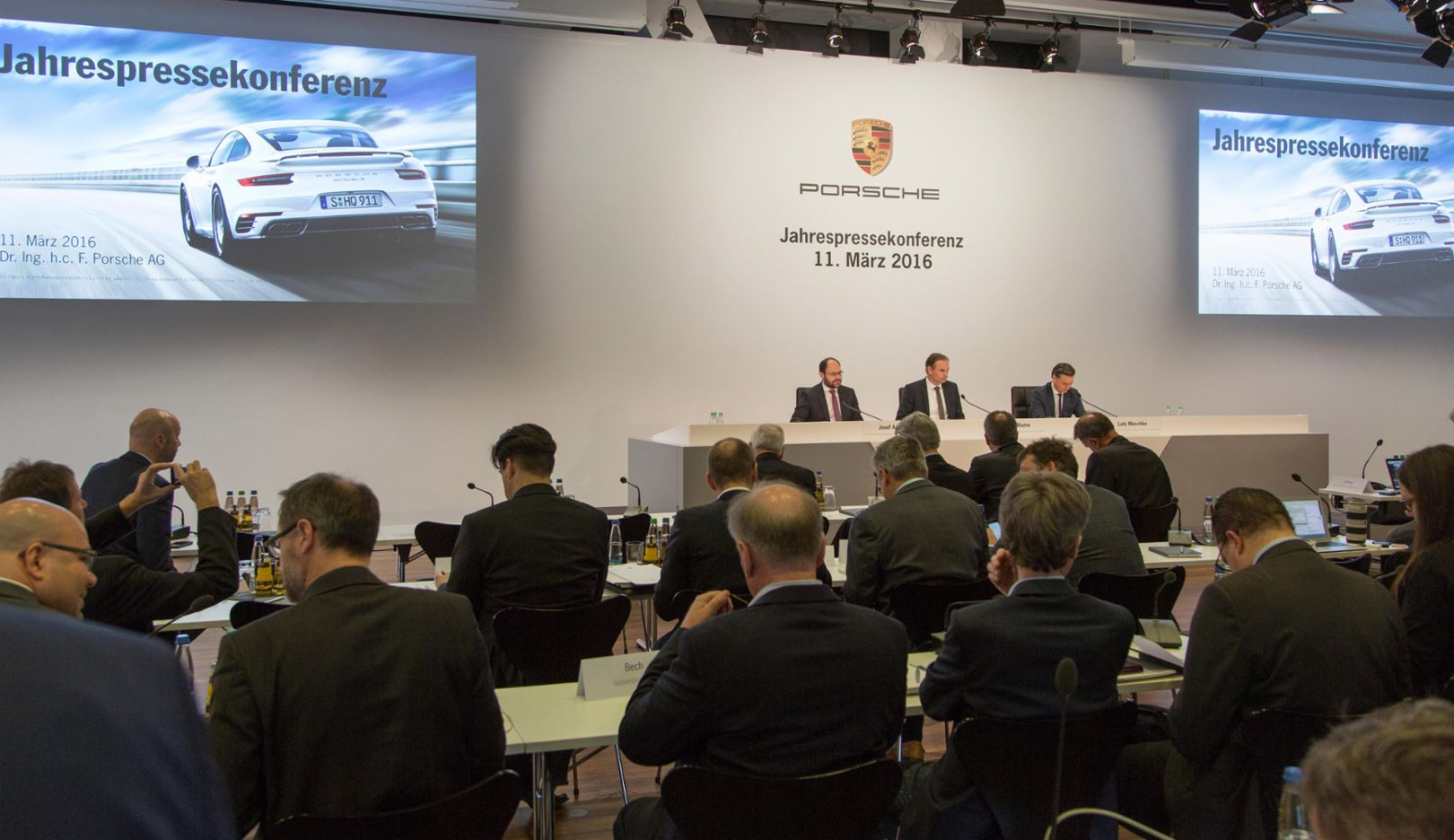 (l-r) Josef Arweck, Vice President Communications, Oliver Blume, CEO, Lutz Meschke, CFO,  Annual press conference 2016, Porsche AG