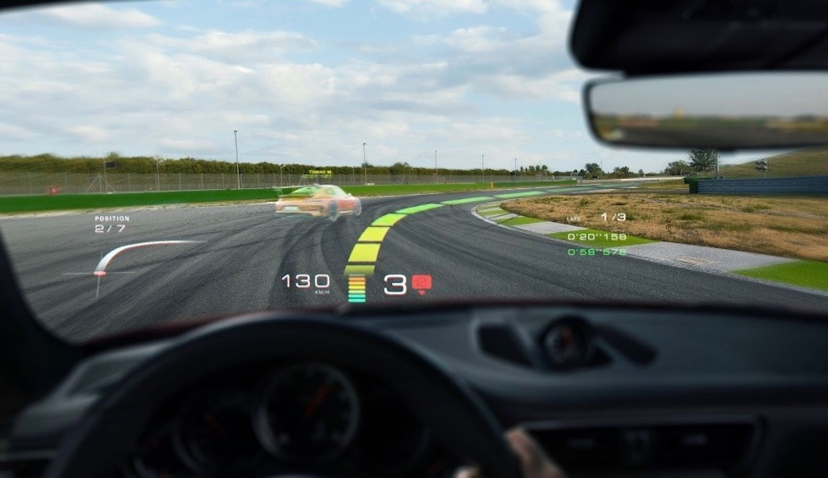 Holographic augmented reality head-up display technologiy, WayRay, 2018, Porsche AG