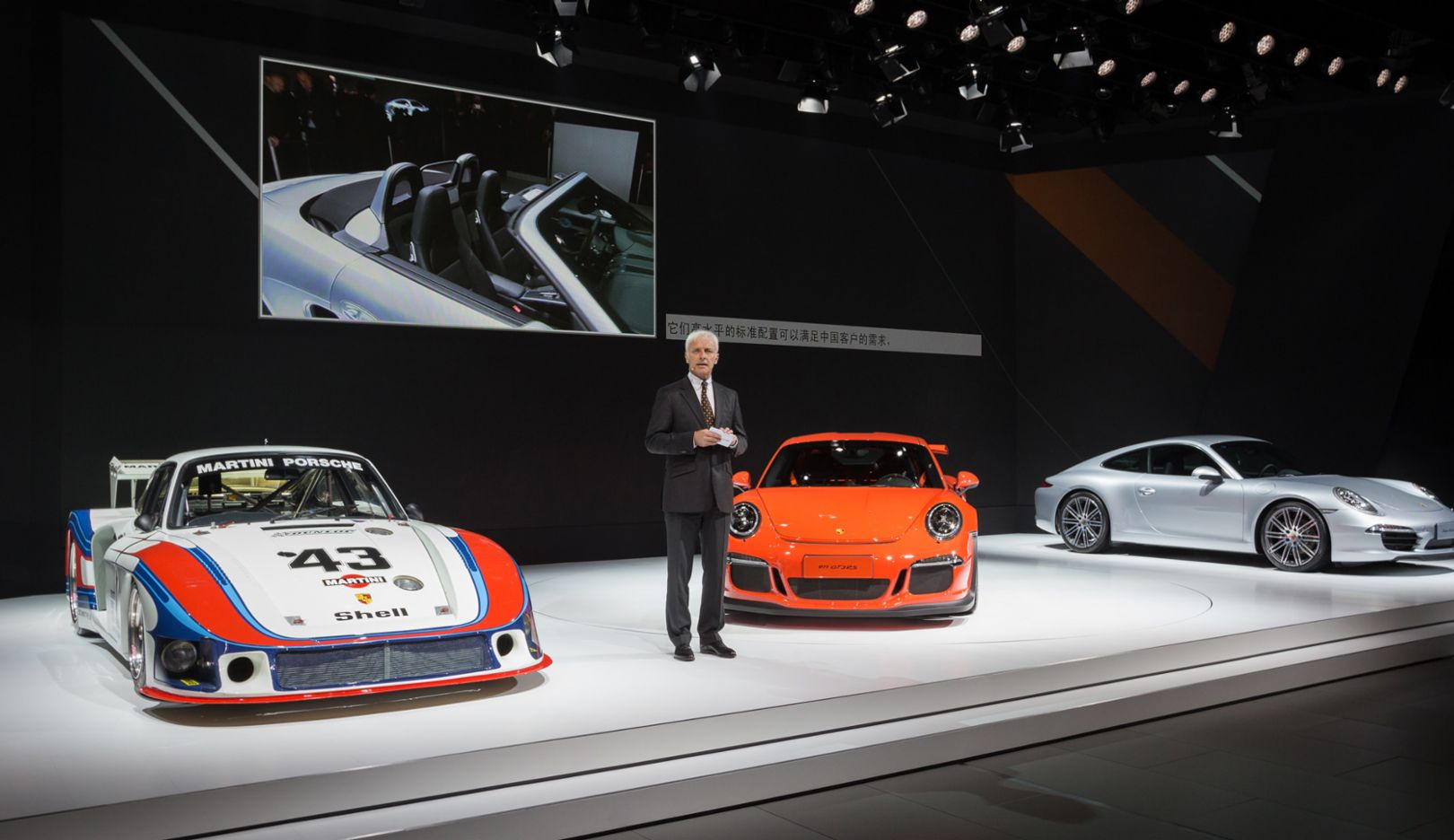 "Matthias Mueller, CEO, 935/78 ""Moby Dick"", 911 GT3 RS, 911 Carrera Style Edition,  Shanghai autoshow, 2015, Porsche AG"