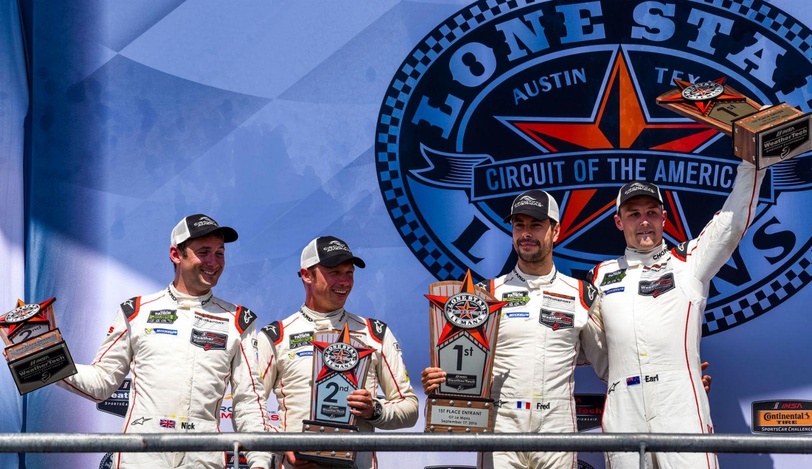 Nick Tandy, Patrick Pilet, Frédéric Makowiecki, Earl Bamber, l-r, IMSA SportsCar Championship, Austin, 2016, Porsche AG