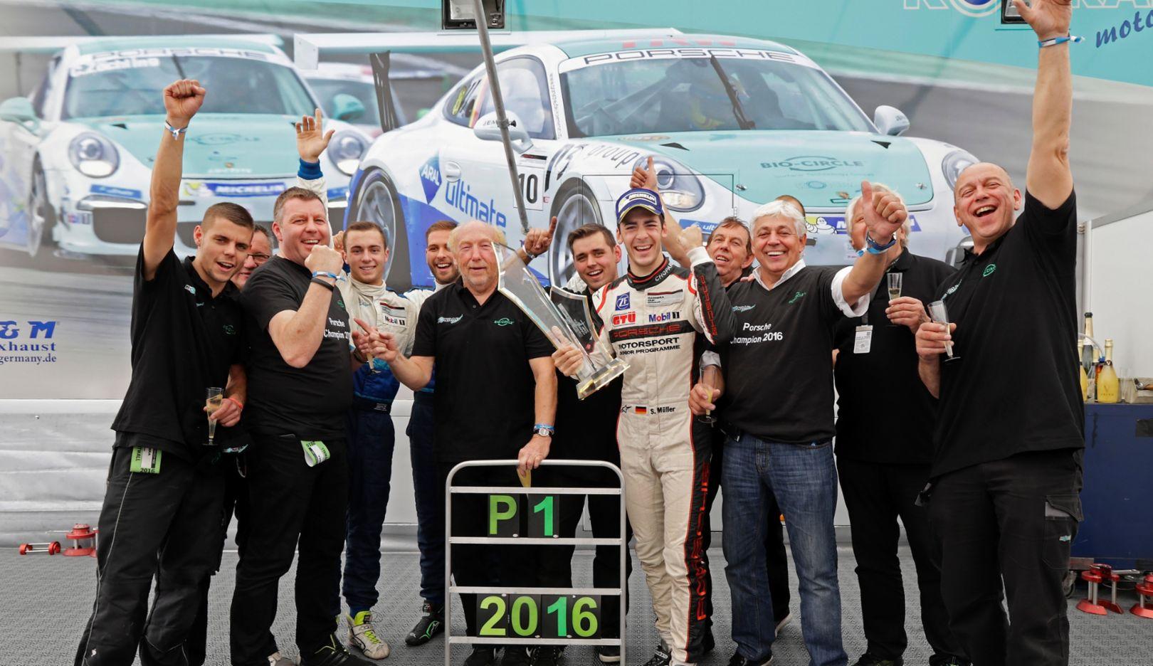 Sven Müller (D), champion, Porsche Carrera Cup Deutschland, Hockenheimring, 2016, Porsche AG