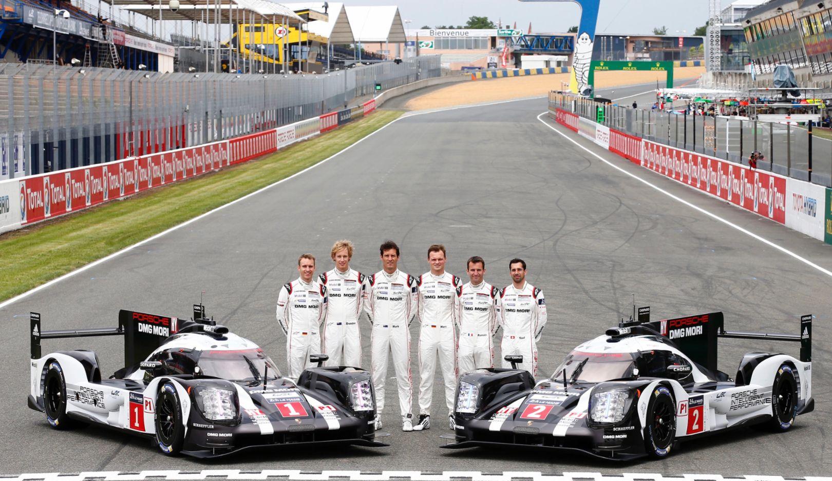 Timo Bernhard, Brendon Hartley, Mark Webber, Marc Lieb, Romain Dumas, Neel Jani, l-r, Porsche 919 Hybrid, WEC, Le Mans, 2016, Porsche AG