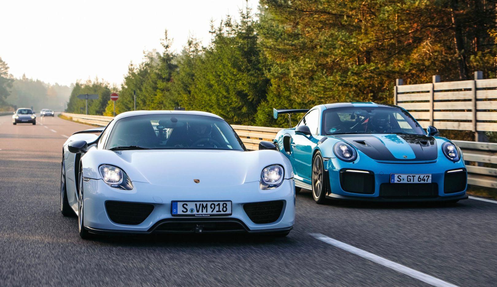 918 Spyder, 911 GT2 RS, l-r, 2018, Porsche AG