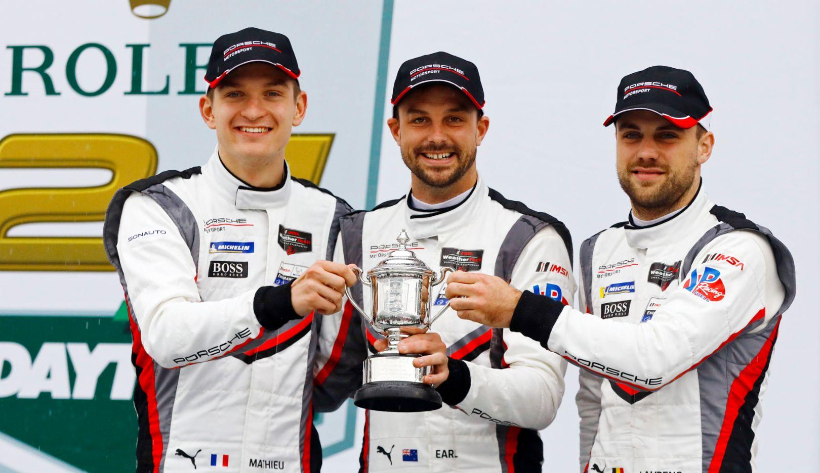 Mathieu Jaminet, Earl Bamber, Laurens Vanthoor, l-r, IMSA, Daytona, 2019, Porsche AG