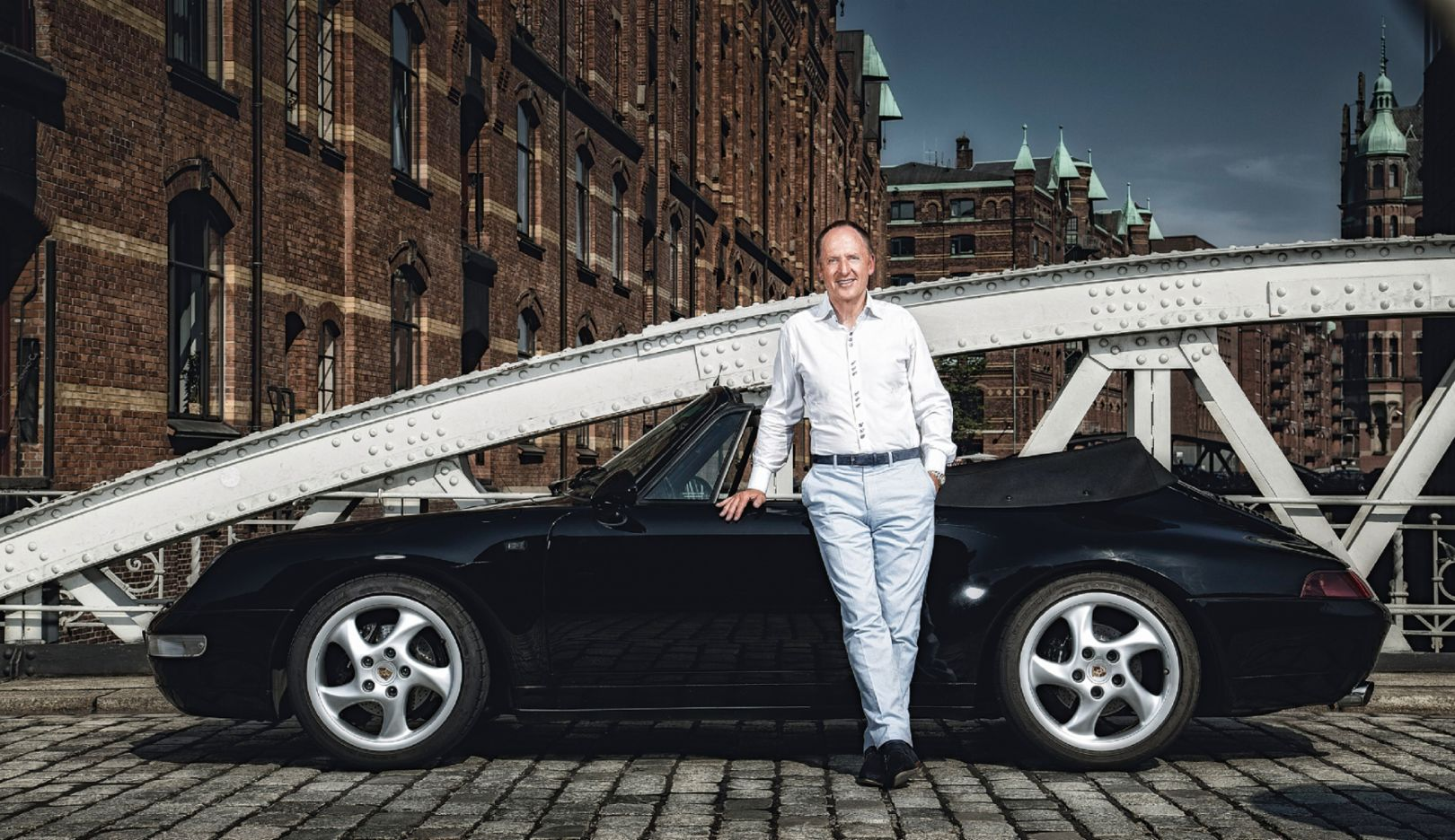 Karl J. Pojer, boss of Hapag-Lloyd Cruises and racing driver, Porsche 993 Cabriolet, Kannengiesserort-Brücke, Hamburg, Germany, 2016, Porsche AG