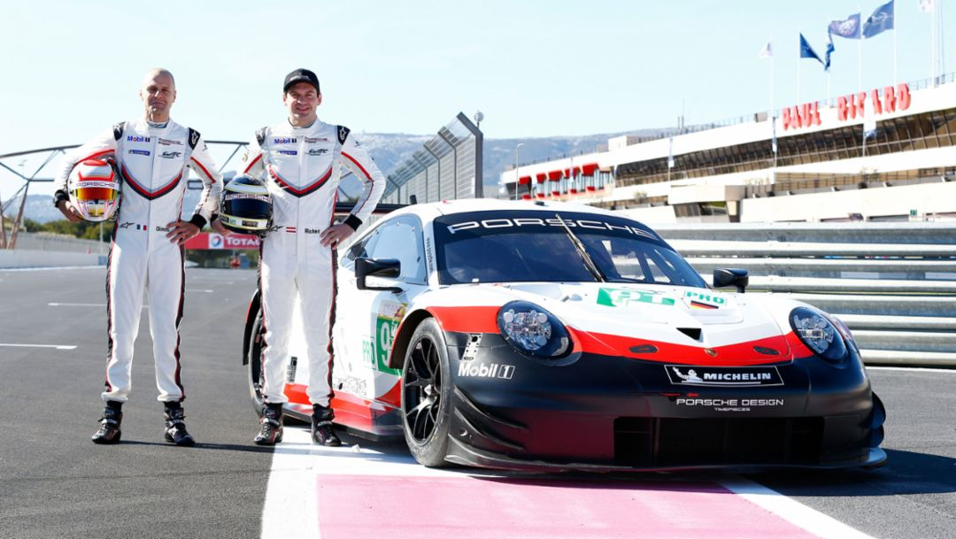 Gianmaria Bruni, Richard Lietz, l-r, 911 RSR, Le Castellet, Prolog, FIA WEC, 2018, Porsche AG