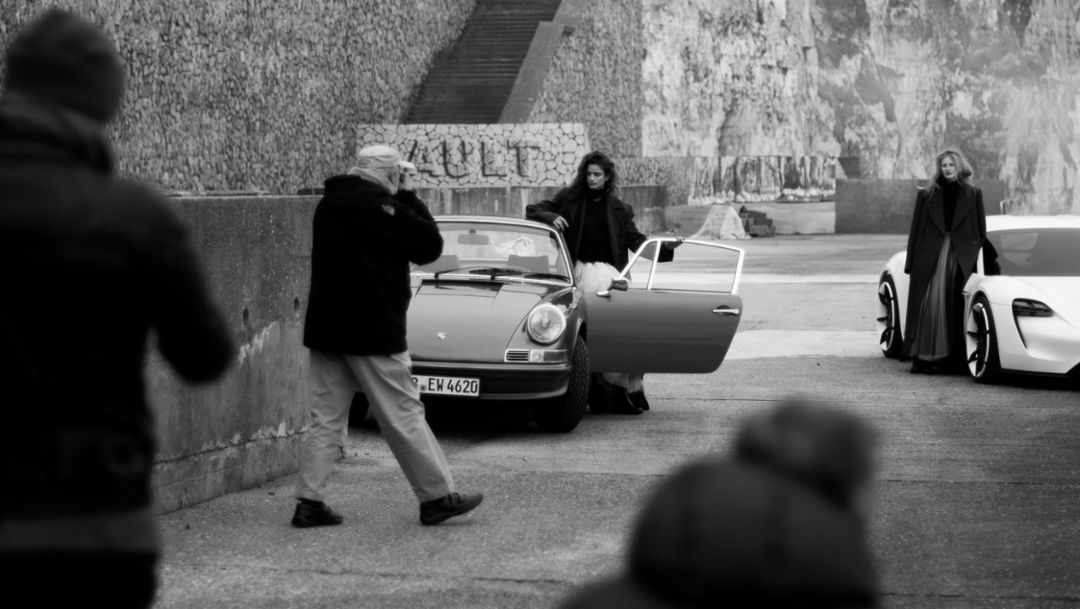 911, Mission E, shoot with phographer to the stars Peter Lindbergh, Porsche Talent Project, Ault, France, 2018, Porsche AG