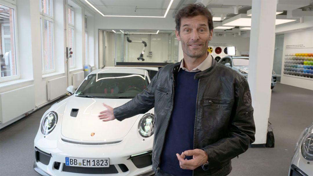 Mark Webber, Porsche Markenbotschafter, 911 GT3 RS, Zuffenhausen, 2018, Porsche AG