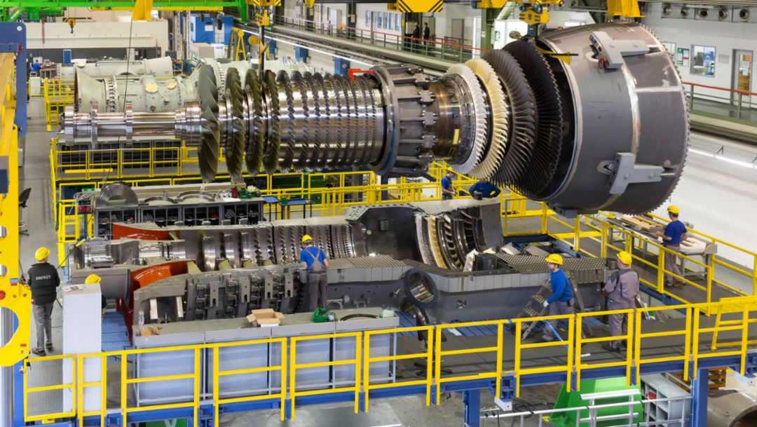 Exemplary throughput times for gas turbines