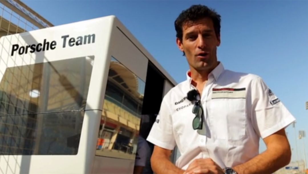 Behind the pit wall in Bahrain with Mark Webber