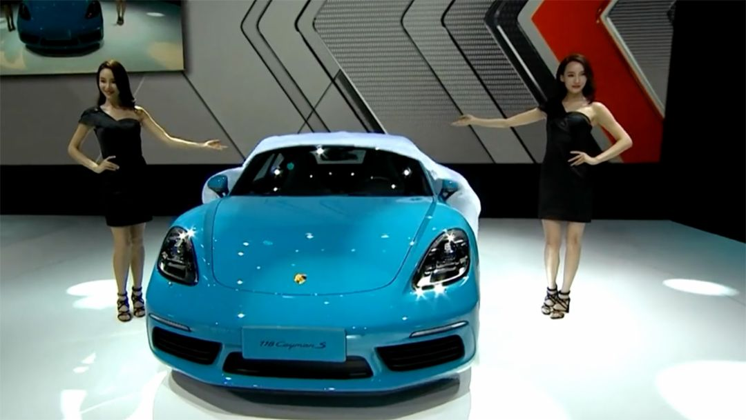 World premiere of 718 Cayman at Auto China in Beijing