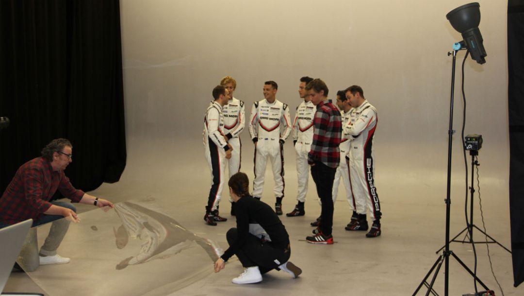Timo Bernhard, Brendon Hartley, Earl Bamber, André Lotterer, Neel Jani, Nick Tandy, l-r, Vorbereitung WEC-Saison, Stuttgart, 2017, Porsche AG
