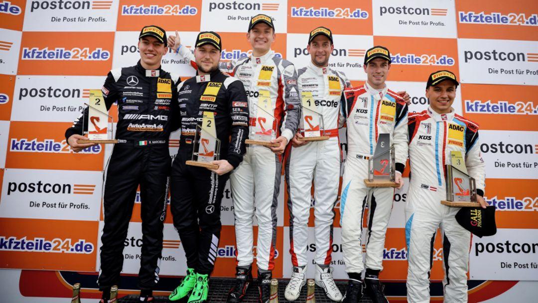 Raffaele Marciello, Patrick Assenheimer, Mathieu Jaminet, Robert Renauer, Precote Herberth Motorsport, Adrien de Leener, Klaus Bachler, KÜS Team75 Bernhard, l-r, ADAC GT Masters, race 10, Zandvoort, 2018, Porsche AG