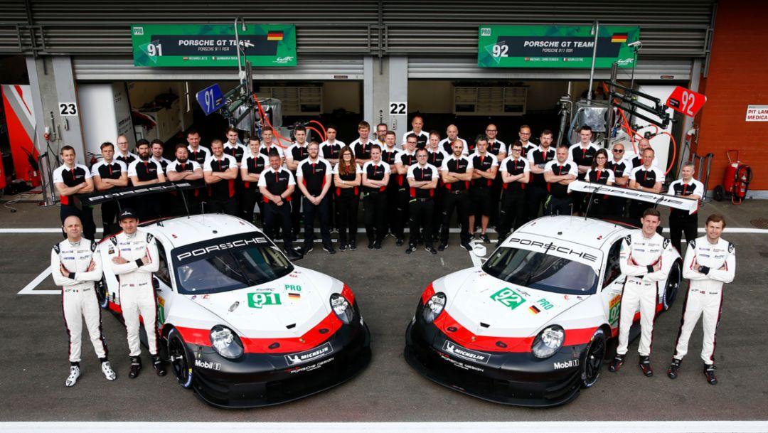Porsche GT Team: Gianmaria Bruni, Richard Lietz, Kevin Estre, Michael Christensen, l-r, Spa-Franchorchamps, FIA WEC, 2019, Porsche AG