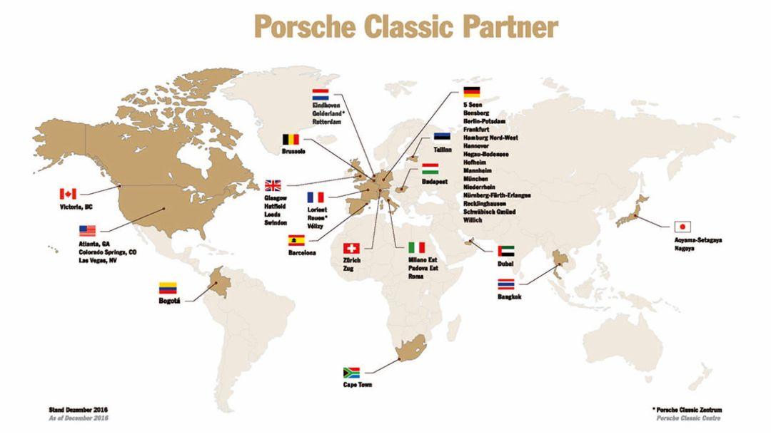 Porsche Classic partner, map, 2016, Porsche AG