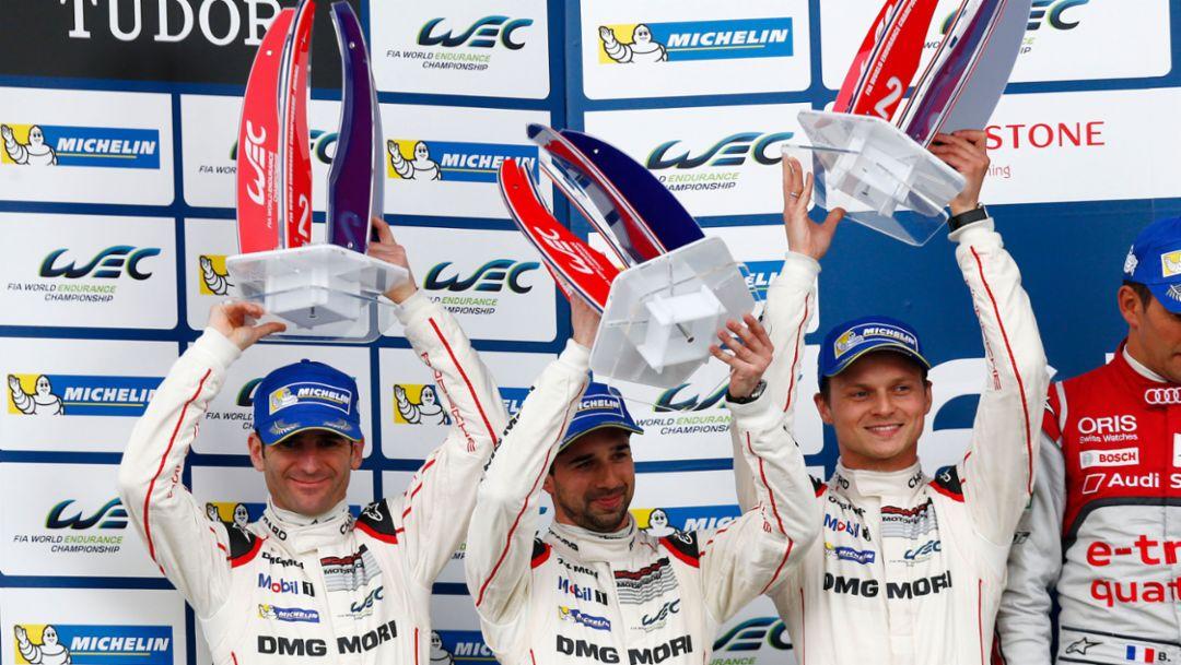 Porsche Team, Romain Dumas, Neel Jani, Marc Lieb (l-r), Silverstone 2015, Porsche AG