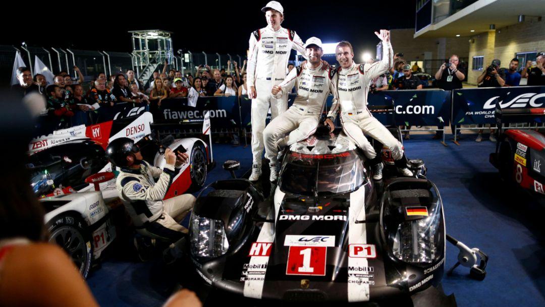 919 Hybrid, Brendon Hartley, Mark Webber, Timo Bernhard, l-r, WEC, Austin, 2016, Porsche AG