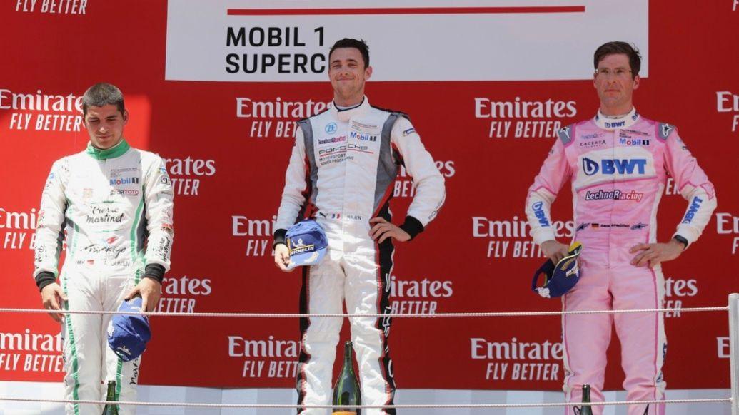 Ayhancan Güven (TR), martinet by ALMERAS, Julien Andlauer (F), BWT Lechner Racing, Michael Ammermüller (D), BWT Lechner Racing, l.-r., Porsche Mobil 1 Supercup, Barcelona, 2019, Porsche AG