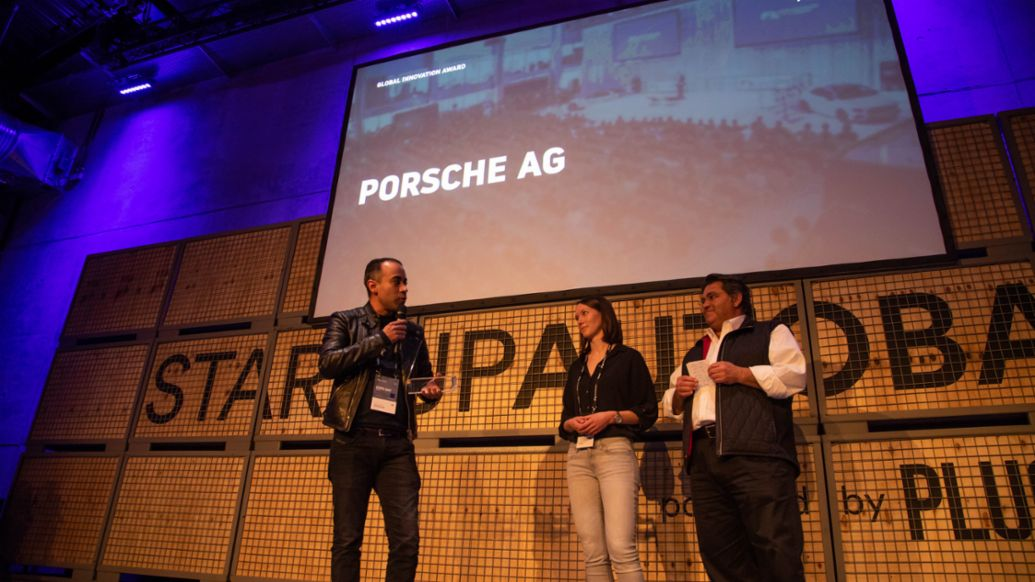 Christian Knörle, Tanja Deutschenbaur, Saeed Amidi (l-r), Global Innovation Award, Startup Autobahn Expo Day, Stuttgart, 2019, Porsche AG