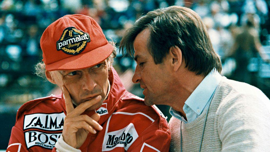 Niki Lauda, Hans Mezger, l-r, 1984, Porsche AG
