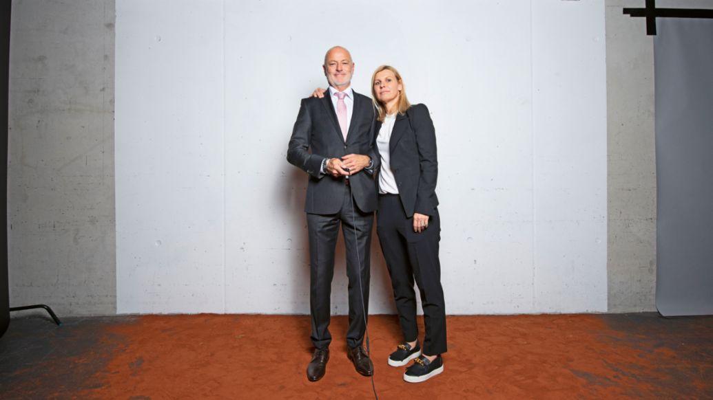Markus Günthardt, Anke Huber, l.-r., 2019, Porsche AG