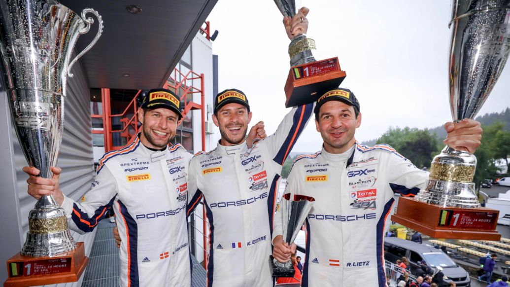 Michael Christensen, Kévin Estre, Richard Lietz, l-r, Winners of the 24 Hours Spa-Francorchamps, Spa-Francorchamps, 2019, Porsche AG