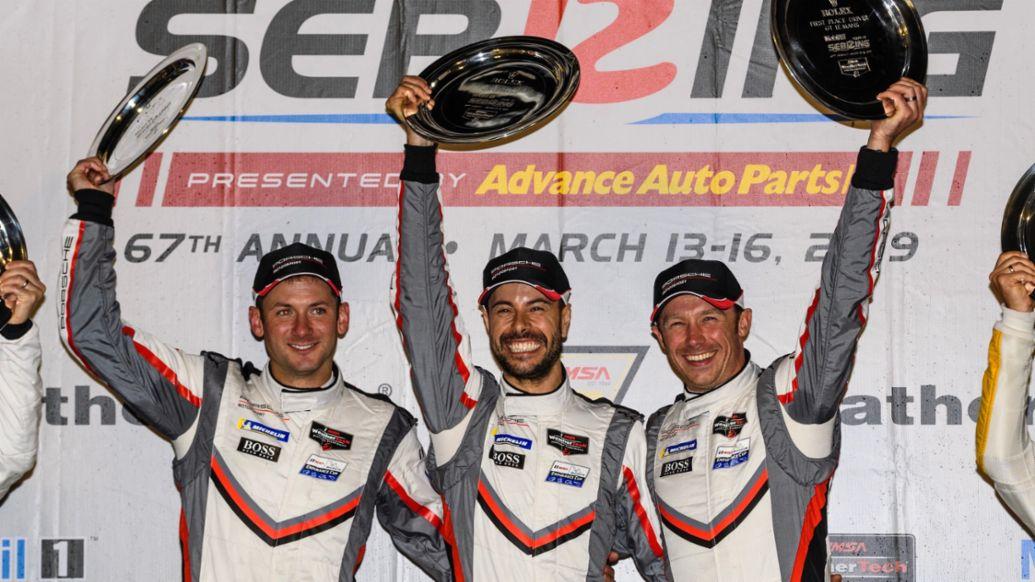 Nick Tandy, Frederic Makowiecki, Patrick Pilet, l-r, Sebring, 2019, Porsche AG