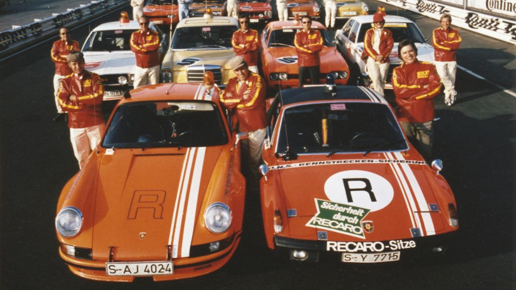 Herbert Linge, ONS track safety team, 911 Carrera RSR 2.8, model year 1973, 914/6 GT, model year 1972, Nürburgring, 1973, Porsche AG