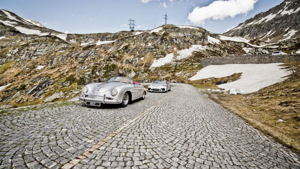 Speedster of 1957 and 2019, Gotthard Pass, 2019, Porsche AG