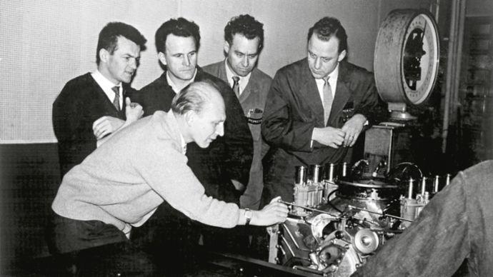 Hans Hönick, Hans Mezger, Eberhard Storz, Helmut Heim, Rolf Schrag, 1960, Porsche AG