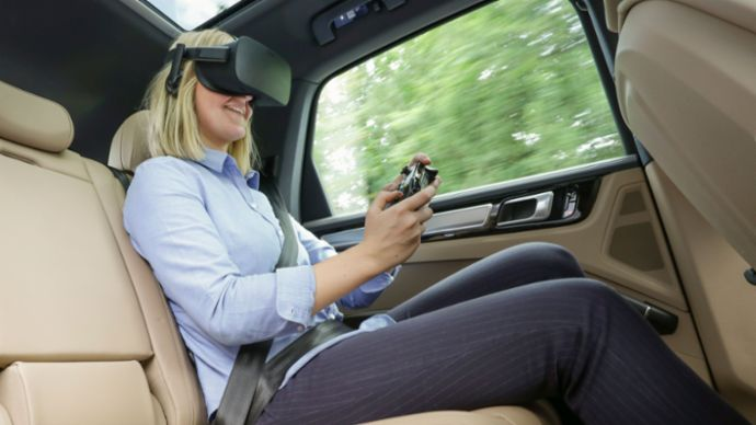 VR entertainment for the back seat with holoride, 2019, Porsche AG