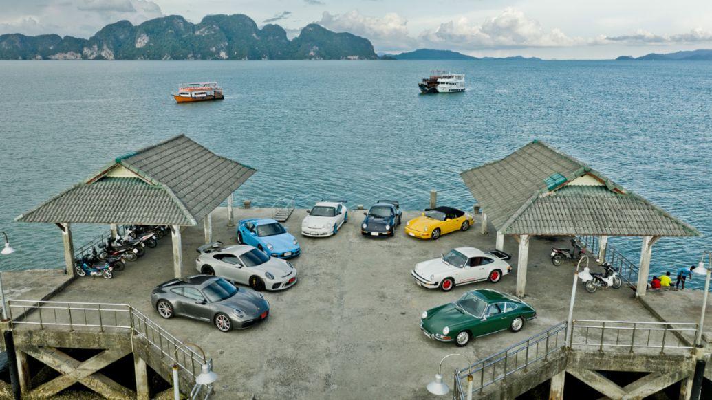 Acht Generationen Porsche 911, Thailand, 2019, Porsche AG