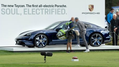 Golf stars raving about the new Porsche Taycan